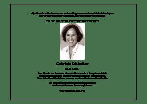 Todesanzeige von Frau Schindler